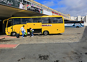 Coaches at bus station, Plasencia, Caceres province, Extremadura, Spain