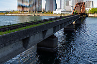 """The point that crossed bridhge was a coal wharf once. The famous Harumi Bridge was abandoned in 1989 and never demolished, left to rot and at the mercy of the elements.  Naturally, it quickly became a haikyo or urbex urban explorer destination for its accessibility and uniqueness - with trees growing out of it.  The city of Tokyo has put up great barriers around the ends of the bridge to keep the explorers out, presumably for """"safety reasons"""" though have left a few viewing platforms for the curious."""