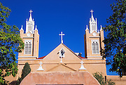 Morning light on San Felipe de Neri Church (National Historic Landmark), Old Town, Albuquerque, New Mexico