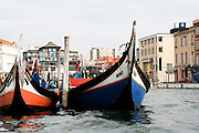 Portugal, Aveiro,Traditionally decorated fishing boats