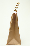 side view of a brown paper shopping bag