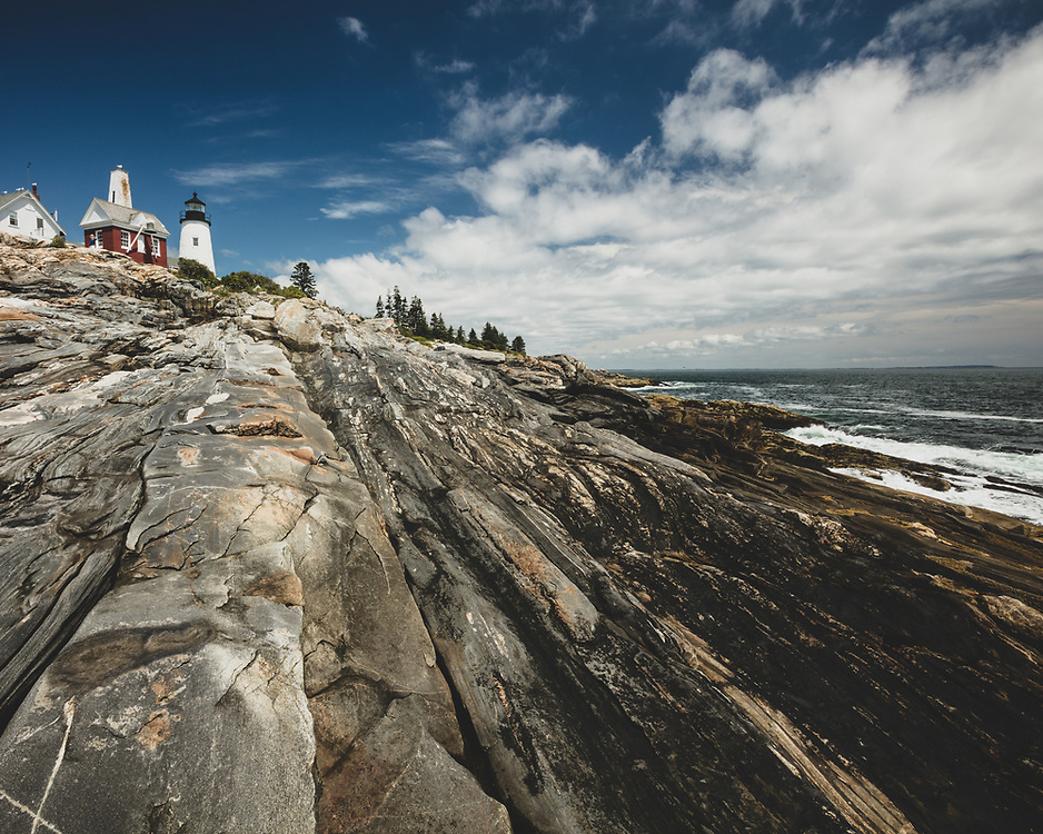 A blue sky day at Pemaquid Point Lighthouse in Bristol, ME.