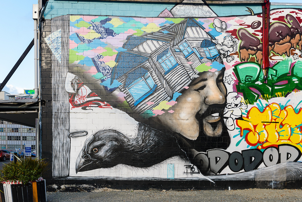 Mural on wall in devastated downtown Christchurch