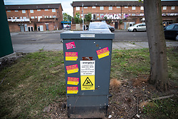 © Licensed to London News Pictures . 22/05/2019. Salford, UK. Stickers encouraging voters to vote against Yaxley-Lennon on street furniture opposite Mocha Parade . Former EDL leader Stephen Yaxley-Lennon (aka Tommy Robinson ) holds a campaign rally at the derelict Mocha Parade shopping precinct in Salford , opposed by anti-fascists . Yaxley-Lennon is running for a seat in the European Parliament representing the North West of England . Photo credit: Joel Goodman/LNP
