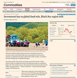 Tearsheet from Financial Times with story about farming in Russia