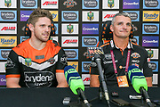 Tigers captain, Chris Lawrence and Coach Ivan Cleary at the post match press conference. Wests Tigers v Sydney Roosters. NRL Rugby League. ANZ Stadium, Sydney, Australia. 10th March 2018. Copyright Photo: David Neilson / www.photosport.nz