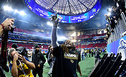 UCF Knights linebacker Shaquem Griffin reacts after the Chick-fil-A Peach Bowl NCAA college football game at the Mercedes-Benz Stadium in Atlanta, January 1, 2018. UCF won 34-27 to go undefeated for the season. (David Tulis via Abell Images for Chick-fil-A Peach Bowl)