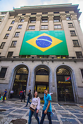 June 15, 2018 - SãO Paulo, São Paulo, Brazil - SAO PAULO SP, SP 15/06/2018 WORLD CUP FEVER IN BRAZIL: Maybe a little later than normal, but streets in various regions of the capital and Greater São Paulo have gained the colors of Brazil, at the 2018 World Cup debut in Russia. In recent weeks, the impression that sentiment over the World Cup is more cramped than in previous editions has been one of the city's discussions. According to Datafolha, 53% of Brazilians have no interest in the tournament. Some residents, however, point to normalcy at the party that will start already at 45 in the second half. (Credit Image: © Cris Faga via ZUMA Wire)