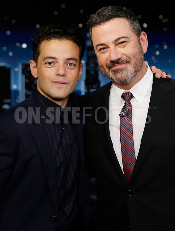 """JIMMY KIMMEL LIVE! - """"Jimmy Kimmel Live!"""" airs every weeknight at 11:35 p.m. EST and features a diverse lineup of guests that include celebrities, athletes, musical acts, comedians and human interest subjects, along with comedy bits and a house band. The guests for Tuesday, October 5 included Rami Malek (""""No Time To Die""""), Melissa Benoist (""""Haven's Secret""""), and musical guest Old Dominion. (ABC/Randy Holmes)<br /> RAMI MALEK, JIMMY KIMMEL"""
