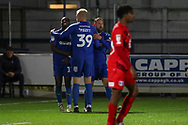 AFC Wimbledon attacker Michael Folivi (17) celebrating after scoring goal during the Leasing.com EFL Trophy match between AFC Wimbledon and Leyton Orient at the Cherry Red Records Stadium, Kingston, England on 8 October 2019.
