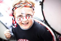 © Licensed to London News Pictures . 17/06/2018. Manchester , UK . NOAH BAUER (four , from Lancaster) . The 2018 Manchester Day parade , celebrating Manchester's cultural and social life and diversity, passes through Manchester City Centre . Photo credit : Joel Goodman/LNP