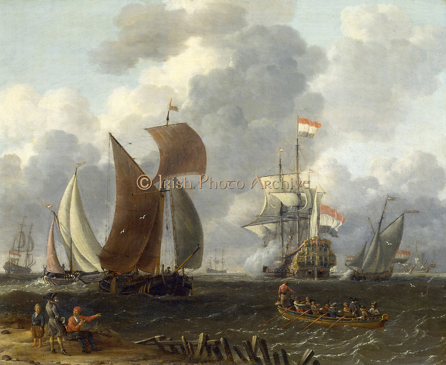 'Dutch Warship in a Calm Sea'  Artist, Abrham Storck (c1635-1704). Oil on wood. Private collection.