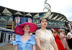 Ekaterina Zherebtsova (left) and Maria Zherebtsova arriving during day one of Royal Ascot at Ascot Racecourse.