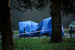 © Licensed to London News Pictures. 20/12/2019. London, UK. A police tent covers a vehicle at the scene at Sophe Lounge in Scatchwood Park near the A1 Edgware, North West London where the body of a man was found inside a car with multiple stab wounds. Photo credit: Ben Cawthra/LNP