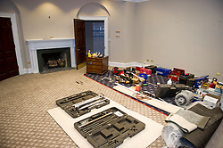 The White House West Wing in Washington, DC is undergoing renovations while United States President Donald J. Trump is vacationing in Bedminster, New Jersey on Friday, August 11, 2017. 11 Aug 2017 Pictured: The Roosevelt Room in the White House West Wing in Washington, DC as it is undergoing renovations while United States President Donald J. Trump is vacationing in Bedminster, New Jersey on Friday, August 11, 2017. The Roosevelt Room is being used as a staging area for worker's tools. Credit: Ron Sachs / CNP. Photo credit: Ron Sachs - CNP / MEGA TheMegaAgency.com +1 888 505 6342