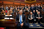 Connecticut House Minority Leader Themis Klarides, R-Derby, left, and Senate Minority Leader Len Fasano, R-North Haven, center, sit with Republicans as they listen to Gov. Ned Lamont deliver the State of the State during opening session at the State Capitol, Wednesday, Feb. 5, 2020, in Hartford, Conn. (AP Photo/Jessica Hill)