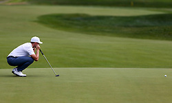 June 21, 2018 - Cromwell, Connecticut, United States - CROMWELL, CT-JUNE 21: Luke List lines up a putt on the 15th green during the first round of the Travelers Championship on June 21, 2018 at TPC River Highlands in Cromwell, Connecticut. (Credit Image: © Debby Wong via ZUMA Wire)