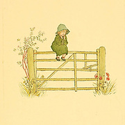Sitting on the fence from the book ' A day in a child's life ' Illustrated by Kate Greenaway. Music by Myles Birket Foster, Published in London and New York By George Routledge and Sons in 1881
