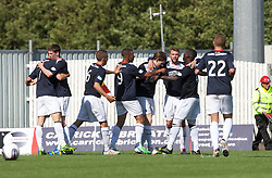 Falkirk's Rory Loy celebrates after scoring their first goal.<br /> half time : Falkirk 2 v 0 Morton, Scottish Championship 17/8/2013.<br /> ©Michael Schofield.