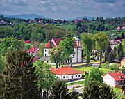 Pobożne fundacje Lubomirskich– kościół farny i szpital ubogich w Nowym Wiśniczu, widok z zamku.