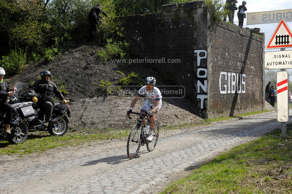 France, April 13th 2014: Paris Roubaix cycling action at Pont Gibus, Wallers.