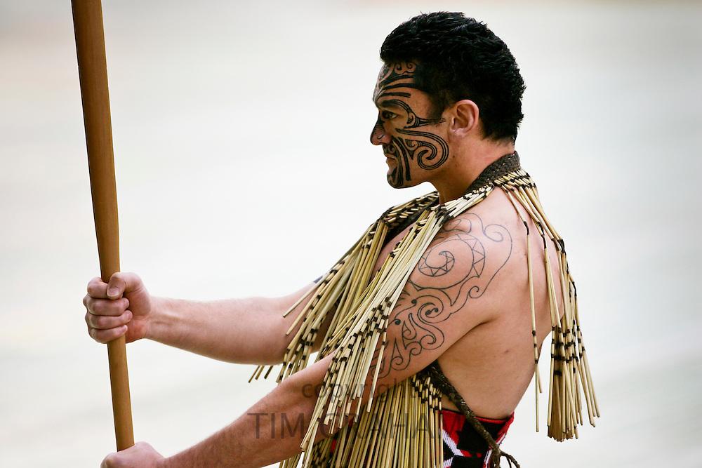 Traditional Haka performed by  Maori warrior