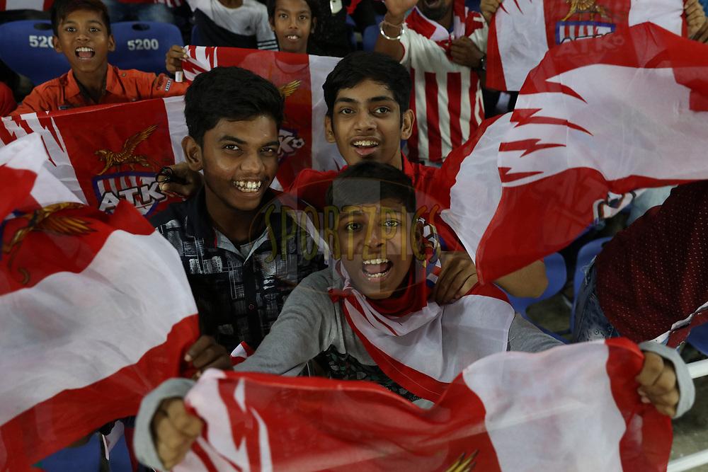 Fans during match 24 of the Hero Indian Super League 2018 ( ISL ) between ATK and Bengaluru FC held at the Yuba Bharati Krirangan stadium (Salt Lake Stadium) in Salt Lake Kolkata, India on the 31st October<br /> <br /> Photo by Saikat Das /SPORTZPICS for ISL