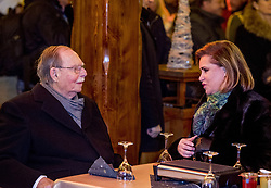 """File photo dated December 8, 2016 of Grand Duke Jean of Luxembourg, here with Grand Duchess Maria Teresa, attending the ceremony marking the 125th anniversary of the Luxembourg dynasty in Luxembourg. Grand Duke Jean has died at the age of 98 with his family at his bedside. He had recently been admitted to hospital suffering from a pulmonary infection. Grand Duke Henri announced the death of his father in a statement saying, """"It is with great sadness that I inform you of the death of my beloved father, His Royal Highness Grand Duke Jean, who has passed away in peace, surrounded by the affection of his family."""" Photo by Robin Utrecht/ABACAPRESS.COM"""