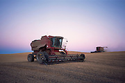 Combines harvesting wheat in Washington State