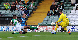 QPR's Sebastian Polter scores his sides goal - Photo mandatory by-line: Harry Trump/JMP - Mobile: 07966 386802 - 11/08/15 - SPORT - FOOTBALL - Capital One Cup - First Round - Yeovil Town v QPR - Huish Park, Yeovil, England.
