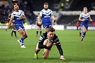 Hull FC full back Jamie Shaul (1) scores a try to make it 18-32  during the Betfred Super League match between Hull FC and St Helens RFC at Kingston Communications Stadium, Hull, United Kingdom on 16 February 2020.