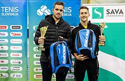 Aljaz Jakob Kaplja and Bor Muzar Schweiger at trophy ceremony after the final match during Slovenian men's doubles tennis Championship 2019, on December 29, 2019 in Medvode, Slovenia. Photo by Vid Ponikvar/ Sportida