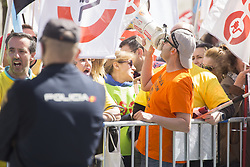 March 28, 2019 - Madrid, Spain - An Alcoa worker seen chanting slogans on a megaphone during the protest..Hundreds of workers from Alcoa, an American company that works in the extraction and sale of aluminium, protest against the closure of the company in Galicia and Asturias. During the protest, politicians from the Congress of Deputies participated and there were moments of tension, breaking of the police barrage and the arrest of one of the demonstrators. (Credit Image: © Lito Lizana/SOPA Images via ZUMA Wire)
