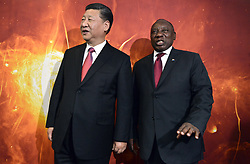 24/07/2018. South African President Cyril Ramaphosa and the President of China Xi Jinping view the exhibition at CSIR during the Chinese president's state visit.<br /> Picture: Oupa Mokoena/African News Agency (ANA)