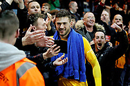 Bradford City goalkeeper Richard O'Donnell (1) celebrates with the fans after  the The FA Cup 2nd round match between Peterborough United and Bradford City at London Road, Peterborough, England on 1 December 2018.
