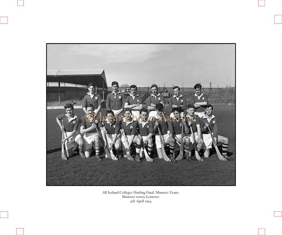 All Ireland Colleges Hurling Final,.Munster v Leinster, .Munster Team.04.04.1954, 4th April 1954,