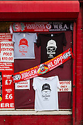 13/12/2015<br /> Anfield Stadium, Liverpool<br /> <br /> A merchandise salesman looks for customers outside the stadium.<br /> German coach Jurgen Klopp took over as boss at Liverpool in October 2015. The stallholders outside the ground were not slow to spot a good sales opportunity and updated their merchandise with Klopp scarves, badges and tee shirts.<br /> ©Brian Hickey/Exclusivepix Media