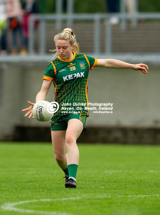 10-07-21. Meath v Cork - LGFA All-Ireland Senior Championship - Group 3 Round 1 at St. Brendan's Park, Birr.<br /> Orlagh Lally, Meath in action against Cork.<br /> Photo: John Quirke / www.quirke.ie<br /> ©John Quirke Photography, 16 Proudstown Road, Navan. Co. Meath. (info@quirke.ie / 046-9028461 / 087-2579454).