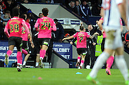 Peterborough's Jon Taylor (7) celebrates after scoring  his equaliser as he runs towards manager Graham Westley. The Emirates FA Cup, 4th round match, West Bromwich Albion v Peterborough Utd at the Hawthorns stadium in West Bromwich, Midlands on Saturday 30th January 2016. pic by Carl Robertson, Andrew Orchard sports photography.
