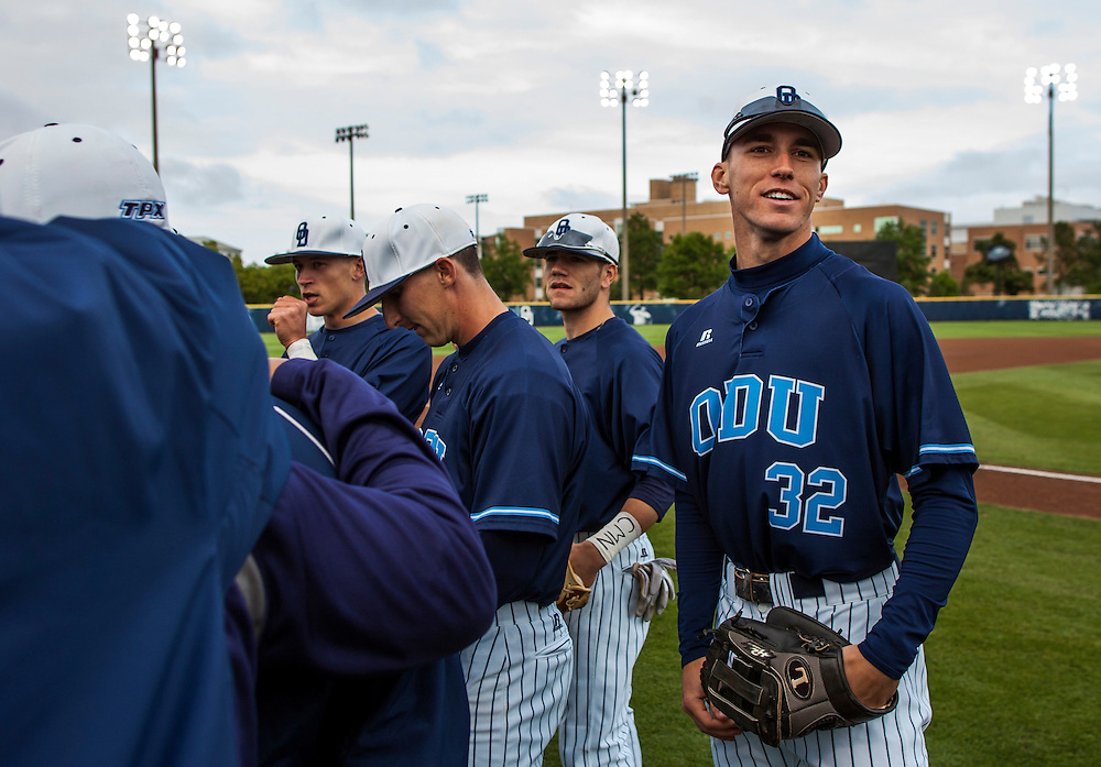 May 3, 2013; Norfolk, VA; ODU Monarchs right fielder Ben Verlander (32) smiles in the huddle with teammates before the game against the George Mason Patriots at the Bud Metheny Baseball Complex . Mandatory Credit: Peter Casey-USA TODAY Sports
