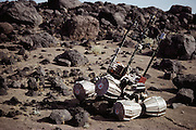 In Death Valley, California, the team responsible for a Russian Mars Rover 'Marsokhod' tests its vehicle to see how it will handle its maneuvering along the similar rocky terrain. The Planetary Society sponsored the test. Robo sapiens Project.