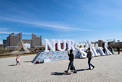 Workers changing sign of Astana to Nur Sultan next to Lovers Park and Khan Shatyr one day before at IIHF World Championship DIV. I Group A Kazakhstan 2019, on April 28, 2019 in Barys Arena, Nur-Sultan, Kazakhstan. Photo by Matic Klansek Velej / Sportida