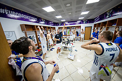 Jaka Blazic of Slovenia, Sasa Zagorac of Slovenia celebrating in a locker room after winning during the Final basketball match between National Teams  Slovenia and Serbia at Day 18 of the FIBA EuroBasket 2017 when Slovenia became European Champions 2017, at Sinan Erdem Dome in Istanbul, Turkey on September 17, 2017. Photo by Sportida