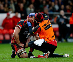 Harrison Keddie of Dragons gets some medical attention<br /> <br /> Photographer Simon King/Replay Images<br /> <br /> Guinness PRO14 Round 12 - Dragons v Ospreys - Sunday 30th December 2018 - Rodney Parade - Newport<br /> <br /> World Copyright © Replay Images . All rights reserved. info@replayimages.co.uk - http://replayimages.co.uk