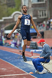 April 27, 2018 - Philadelphia, Pennsylvania, U.S - MALIK MOFFETT (3) from Penn State competes in the Long Jump Championships during the meet held in Franklin Field in Philadelphia, Pennsylvania. (Credit Image: © Amy Sanderson via ZUMA Wire)