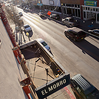 The El Morro Theatre marquee hangs over Coal Avenue in downtown Gallup Thursday. Proposed restorations to the marquee would restore art deco elements of the sign.