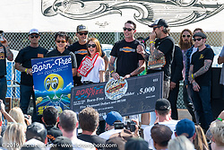 BF11 invited Builder Hawke Lawshe wins Best of Show, $5,000 and a trip to Mooneyes for his custom 1946 Harley-Davidson cut-away open rocker Knucklehead at the Born Free Motorcycle Show (BF11) at Oak Canyon Ranch, Silverado  CA, USA. Saturday, June 22, 2019. Photography ©2019 Michael Lichter.