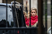 "Actress Amber Heard arrives at the High Court in London on Thursday, July 23, 2020. She will attend a hearing in Johnny Depp's libel case against the publishers of The Sun and its executive editor, Dan Wootton. <br /> 57-year-old Depp is suing the tabloid's publisher News Group Newspapers (NGN) over an article which called him a ""wife-beater"" and referred to ""overwhelming evidence"" he attacked Ms Heard, 34, during their relationship, which he strenuously denies. (VXP Photo/ Vudi Xhymshiti)"
