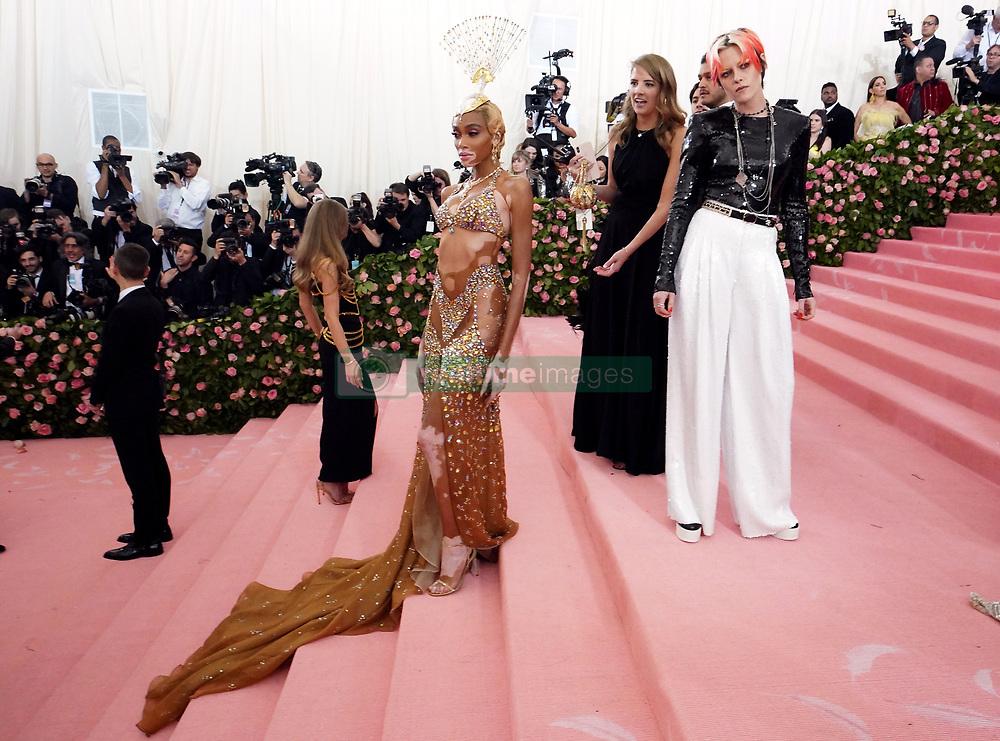Winnie Harlow (left) and Kristen Stewart attending the Metropolitan Museum of Art Costume Institute Benefit Gala 2019 in New York, USA.