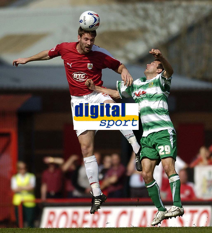 Photo: Jonathan Butler.<br /> Bristol City v Yeovil Town. Coca Cola League 1. 14/04/2007.<br /> Jamie McCombe out jumps Marcus Stewart of Yeovil